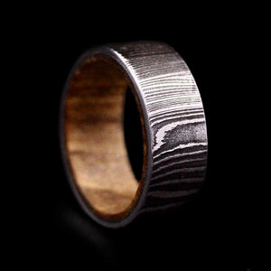 Damascus Steel Ring with Oak Insert