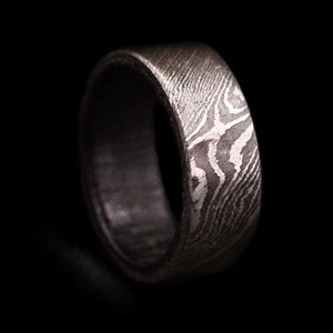 Damascus Steel Ring with Purple Heart Wood Insert