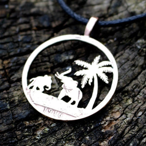 Elephants in Paradise - Coin Pendant