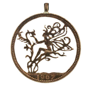 Fairy in the Flowers - Coin Pendant