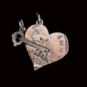 Friendship - Love Heart and Interlocking Key