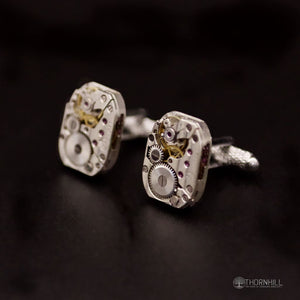 Watch mechanism Cufflinks (18mm and silver in colour) - Coin Cufflinks