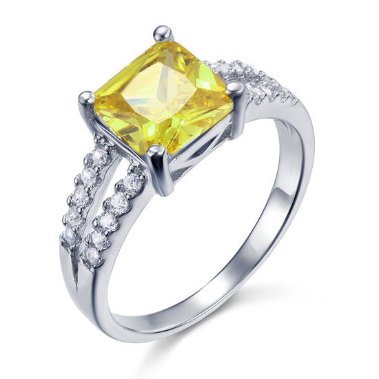 Yellow Canary Colour 2 Carat Simulated Diamond Ring