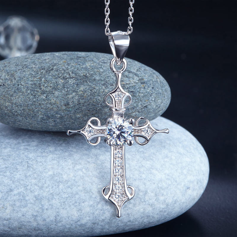 Silver Gothic Cross Pendant Necklace