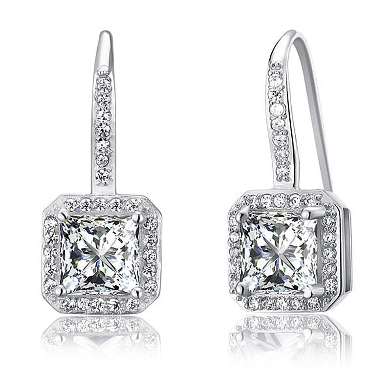 1.5 Carat  925 Sterling Silver Dangle Earrings