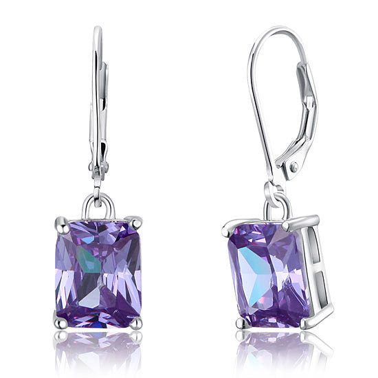 4 Carat Purple Simulated Sapphire Dangle Earrings