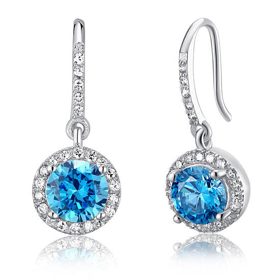 Blue 1.5 Carat Round Cut Hook Dangle Earrings
