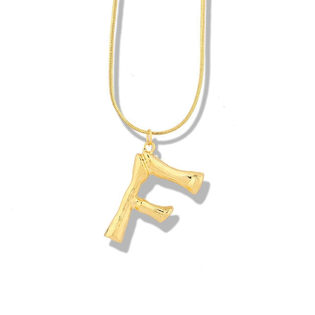 Bamboo Initial Layering Necklace