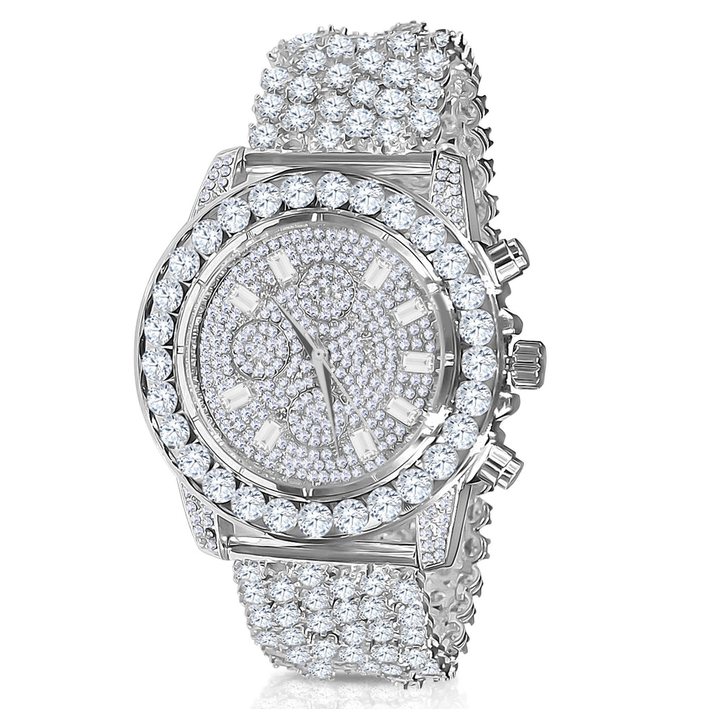 Silver 5mm Solitare Bezel and Crystal Watch