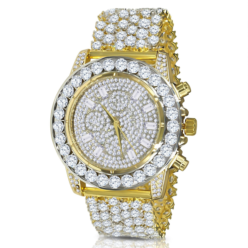 Gold 5mm Solitare Bezel and Crystal Watch