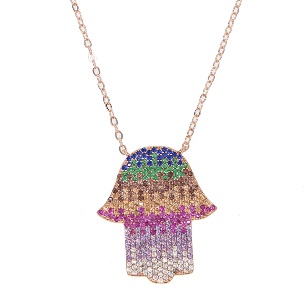Rainbow Hand Necklace