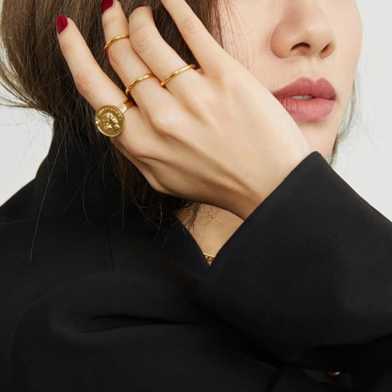 Hexagon x Coin Knuckle Rings