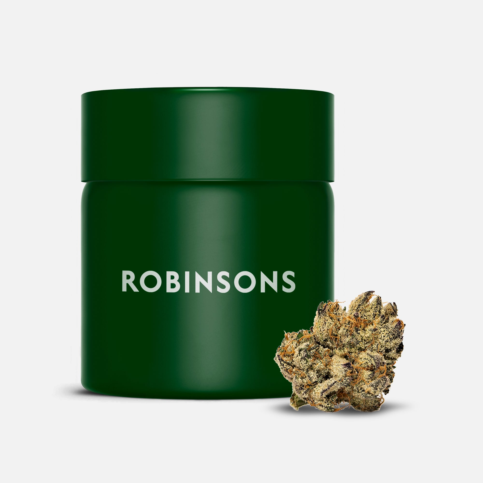 Robinsons branded green jar with cannabis bud