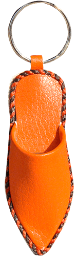 Keychain Moroccan Babouche Miniature leatherette orange color - Bijouterie en ligne - 1