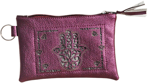 Maroccan khmissa pouch clutch bag Purple color - Bijouterie en ligne - 1