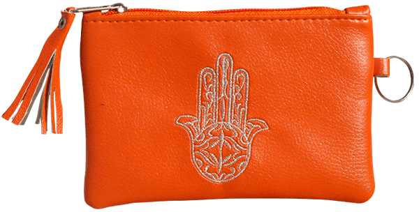 Maroccan khmissa pouch clutch bag Orange color - Bijouterie en ligne - 1