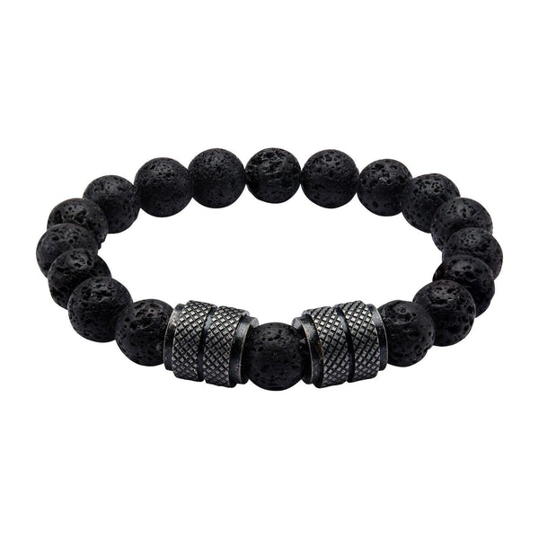 Men's Stainless Steel Black IP and Black Lava Beads Bracelet.
