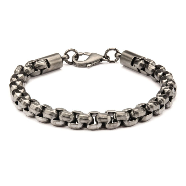 Gun Metal IP Round Box Chain Bracelet