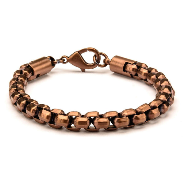 Rose Gold IP Round Box Chain Bracelet
