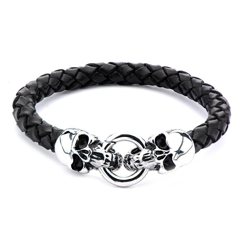 Black Leather with Skulls Bracelet - Bijouterie en ligne - 2