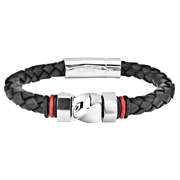 Round Braided Black Leather Bracelet with Steel Bolt Design - Bijouterie en ligne - 1