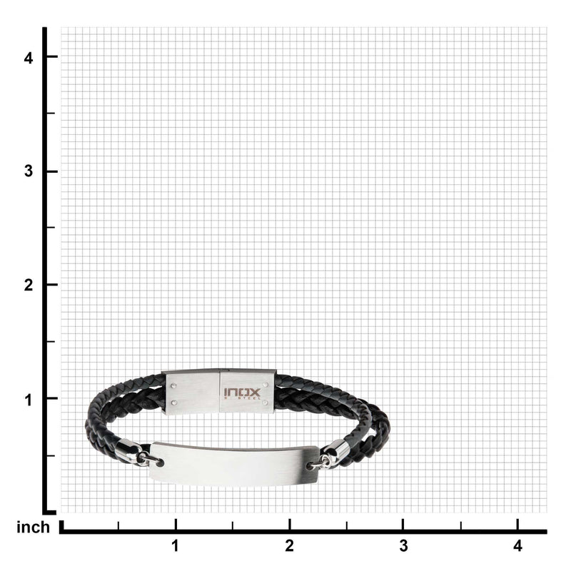 Stainless Steel Modern Engravable ID Bracelet with Multi-Strand Braided Leather in Black and Grey