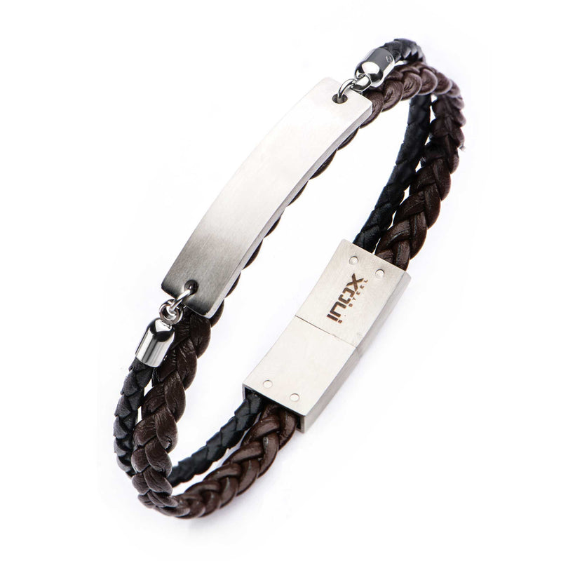 Brown-Black Leather ID Bracelet