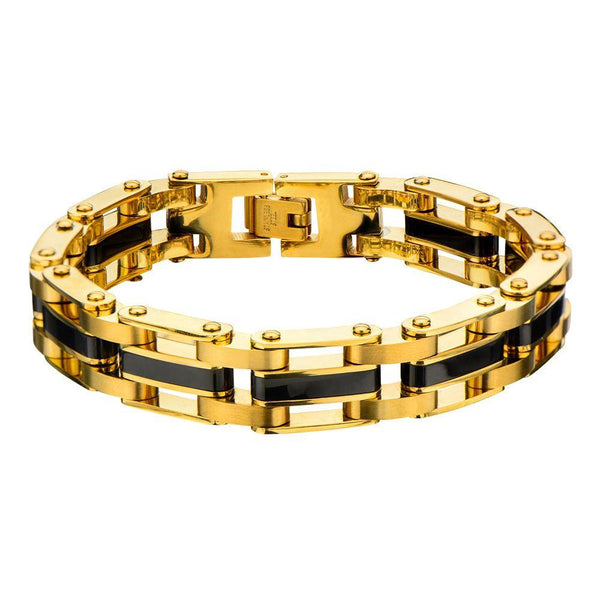 Steel Gold IP with Middle Black IP Link Bracelet