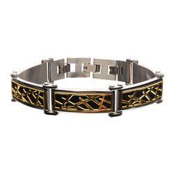 Black and Gold IP Crown of Thorns Design Link Small Bracelet - Bijouterie en ligne - 1
