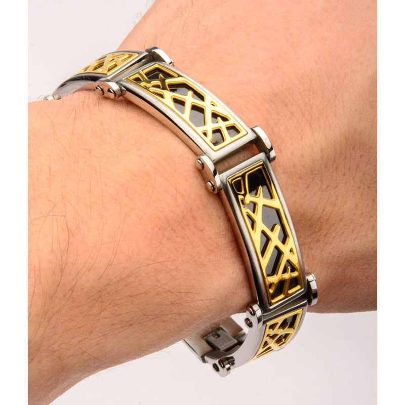 Black and Gold IP Crown of Thorns Design Link Small Bracelet - Bijouterie en ligne - 4