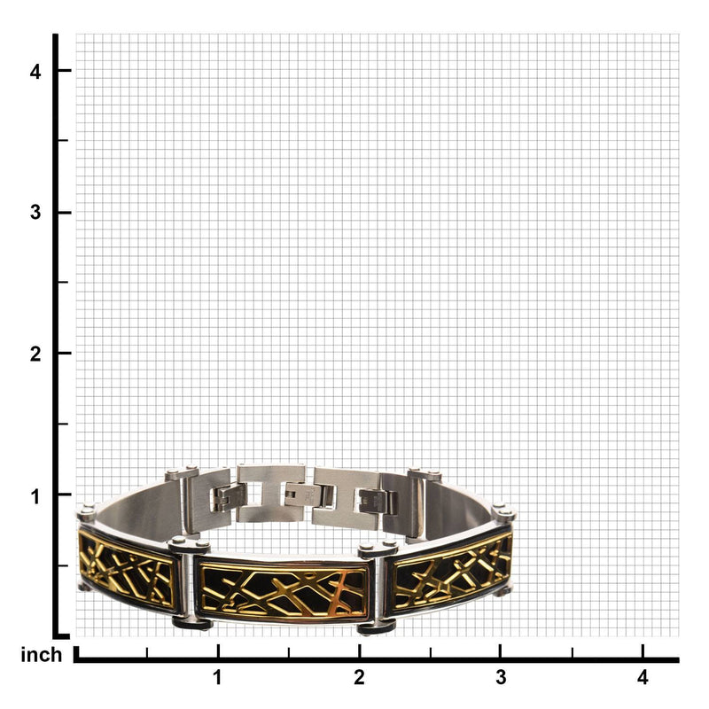 Black and Gold IP Crown of Thorns Design Link Small Bracelet - Bijouterie en ligne - 3