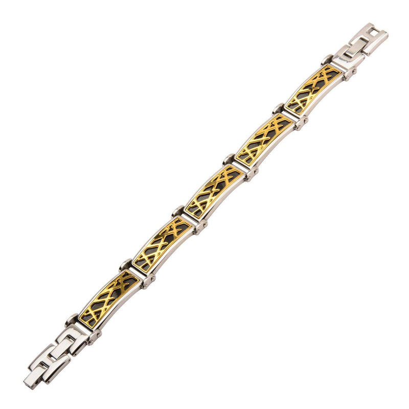 Black and Gold IP Crown of Thorns Design Link Small Bracelet - Bijouterie en ligne - 2