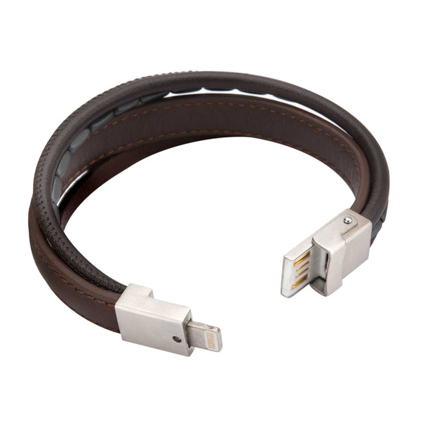 Multi Genuine Brown Leather in Black Hematite Android and IOS USB Bracelet