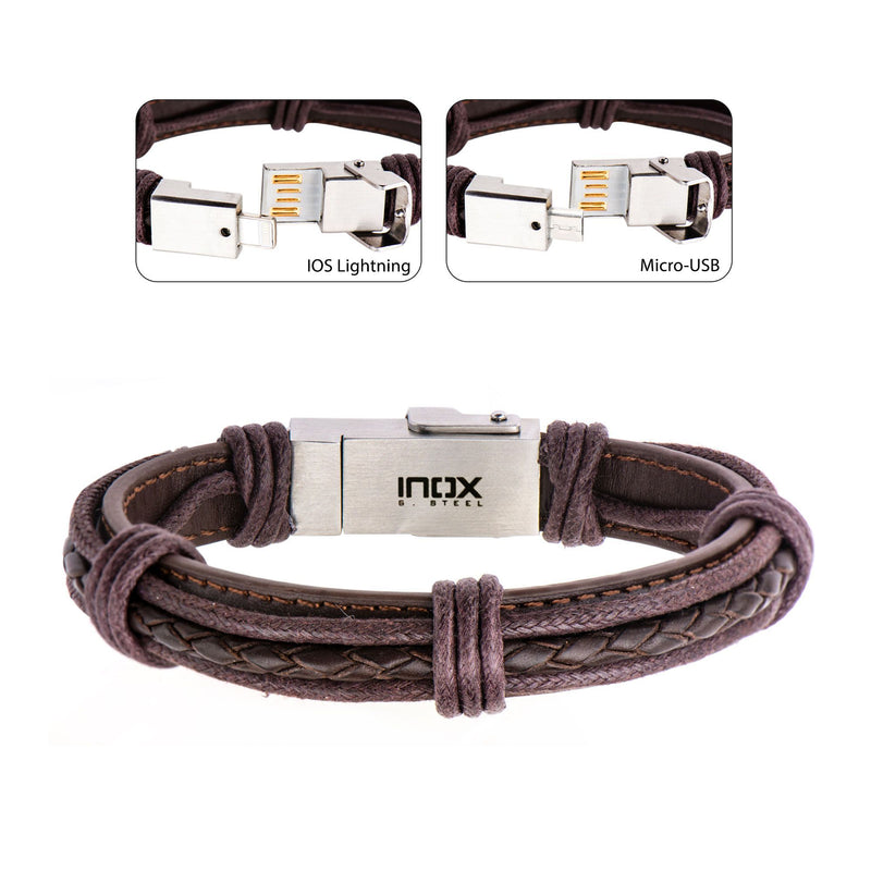 Genuine Brown Leather Android and IOS USB Bracelet
