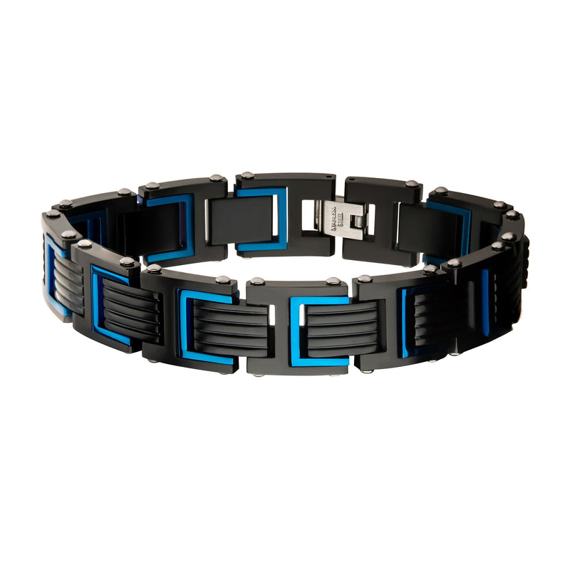 Stainless Steel Blue and Black IP Link Bracelet