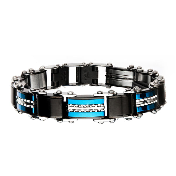 Double Sided Stainless Steel Black IP and Blue IP Reversible Bracelet