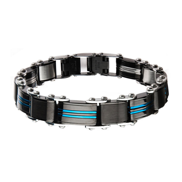 Double Sided Stainless Steel Blue IP and Black IP Reversible Bracelet