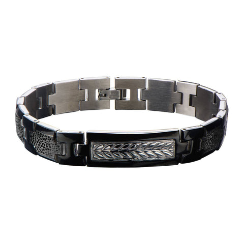 Black IP with Steel Leaf Patterned Link Bracelet. - Bijouterie en ligne - 1