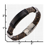 Brown Braided Leather Steel Clasp Bracelet - Bijouterie en ligne - 2