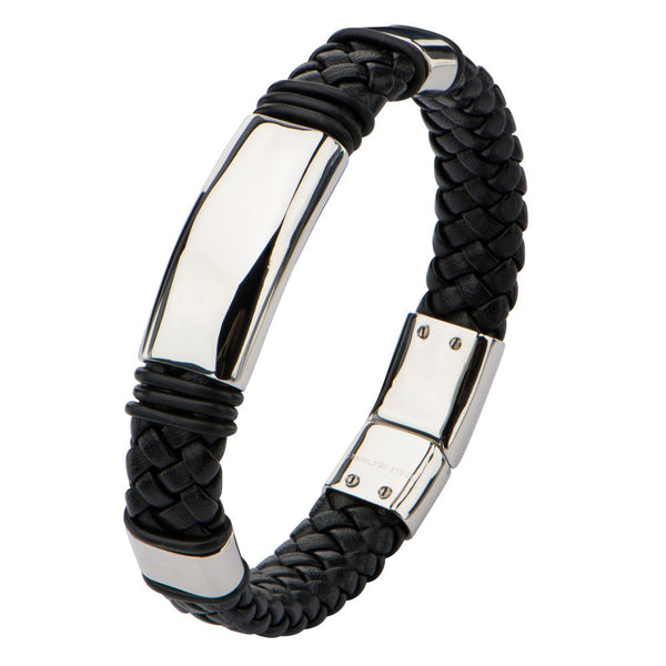 Stainless Steel Black leather Bracelet - Bijouterie en ligne - 1