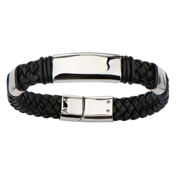 Stainless Steel Black leather Bracelet - Bijouterie en ligne - 2