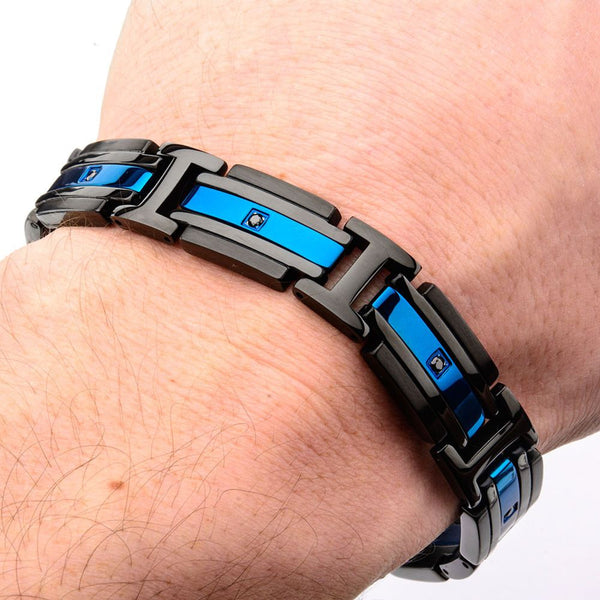 Matte Black & Blue IP with Black CZ Bracelet - Bijouterie en ligne - 2