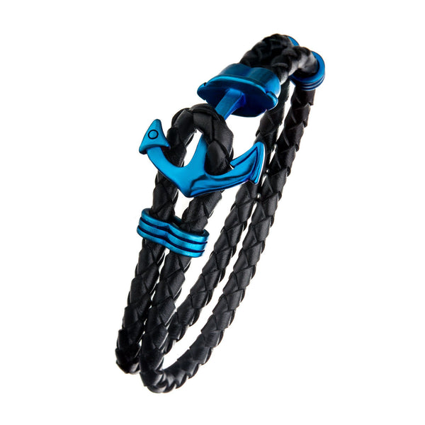 Black Leather with Blue IP Anchor Bracelet