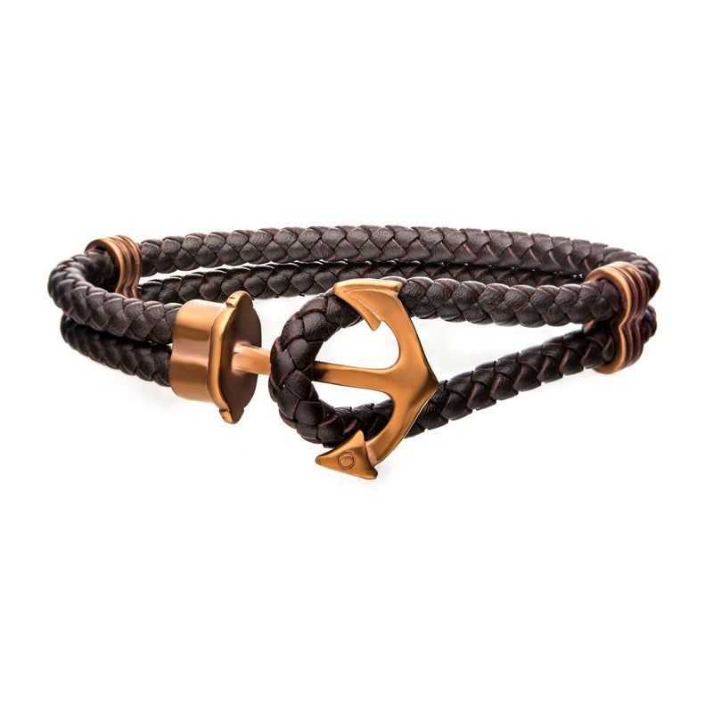 Brown Leather with Cappuccino IP Anchor Bracelet