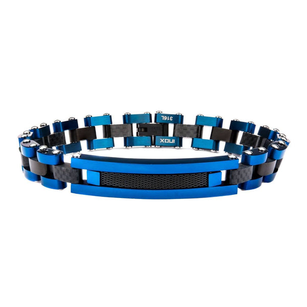Solid Carbon Graphite and Blue IP with Black IP Mesh ID Link Bracelet