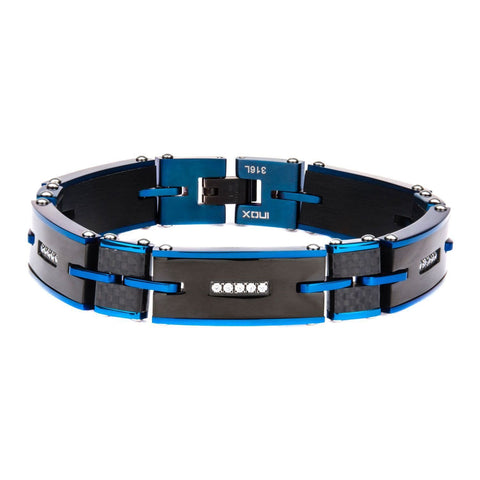 Solid Crabon Graphite and Blue IP with Clear CZ Stone Link Bracelet
