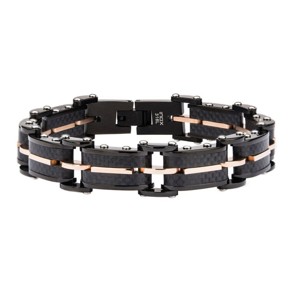 Solid Carbon Graphite and Rose Gold IP Link Bracelet