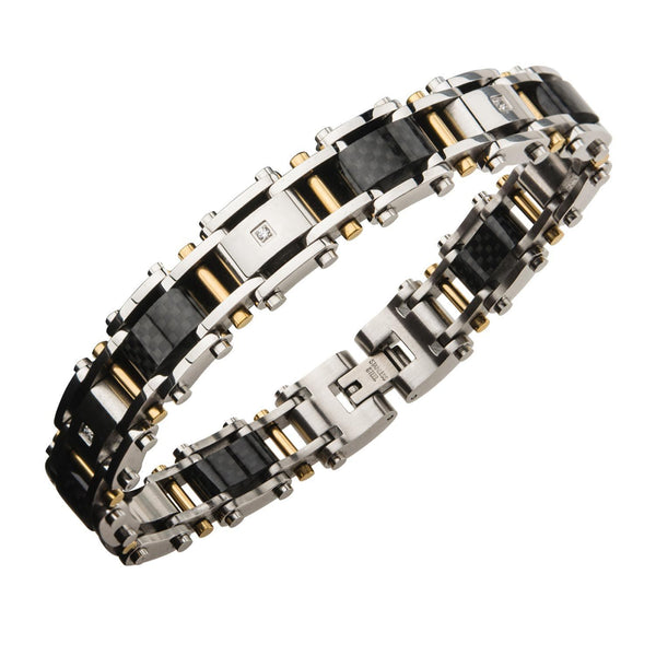 Stainless Steel Solid Carbon and Gold IP with Clear CZ Link Bracelet