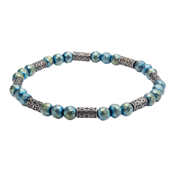 Blue Hematite with Antique Steel Beads Bracelet