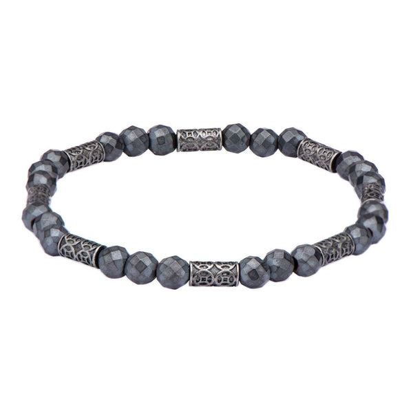 Grey Hematite with Antique Steel Beads Bracelet